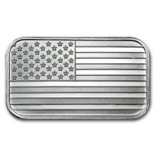 1 oz. Silver USA Flag Bar - .999 Pure