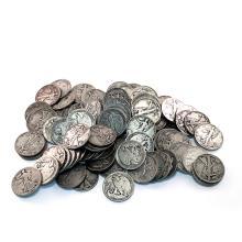 Lot of (100) Walking Liberty Half Dollars-90%
