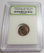 Ancient Bronze Constantine Era Coin in Slab