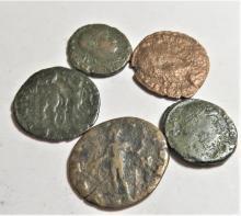 Lot of 5 Ancient Constantine Era Bronze Coins