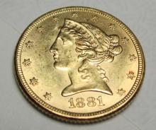 1881 P $5 FIVE Gold Liberty Half Eagle