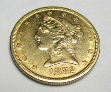 1882 S $5 FIVE Gold Liberty Half Eagle