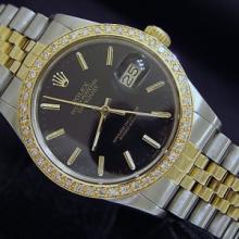 $17K  ROLEX 14k/ss Black Face Diamonds