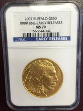 2007 MS 70 PCGS Gold Buffalo Bullion 1 oz. ER