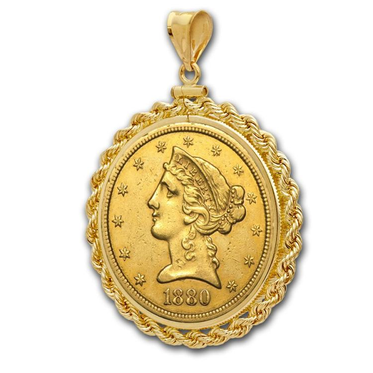 1880 P $ 5 Gold Liberty in 14k YG Rope Bezel