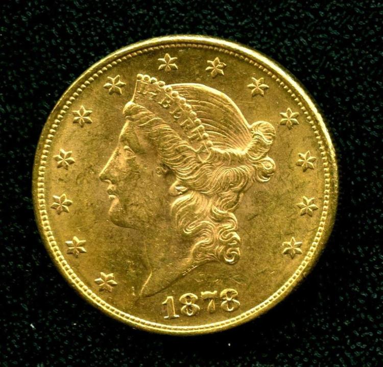 1878 P $ 20 Gold Double Eagle Liberty Coin