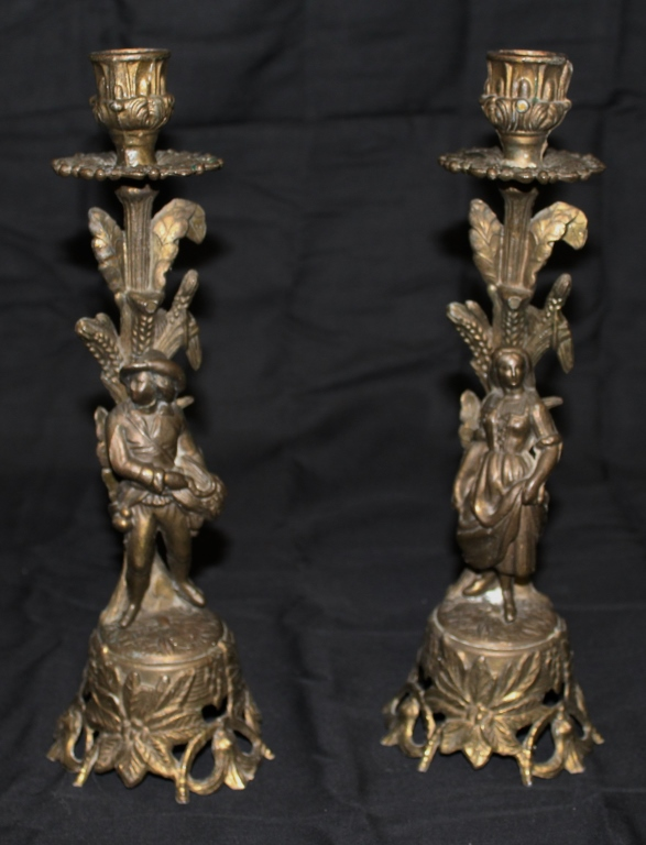 Pr. Bronze Figural Candle Holders
