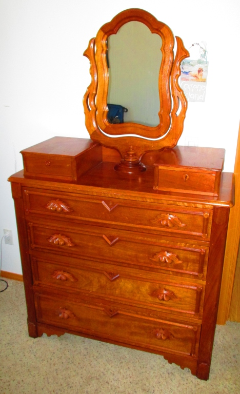 1860's Civil War Era Dresser w/ Wishbone Mirror