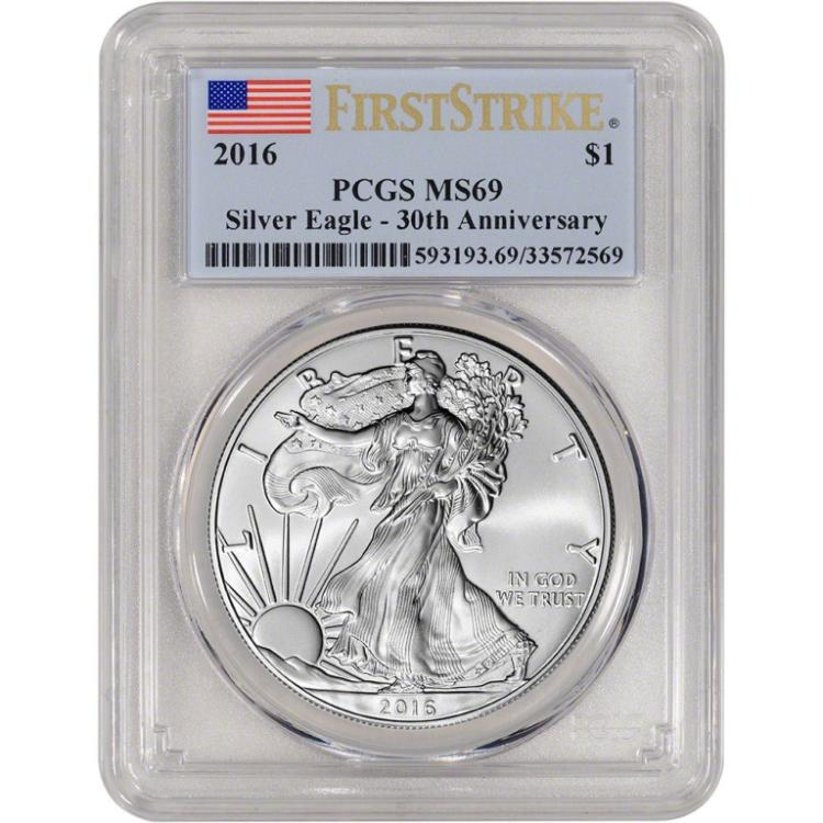 2016 US Silver Eagle MS 69 PCGS 1st Strike