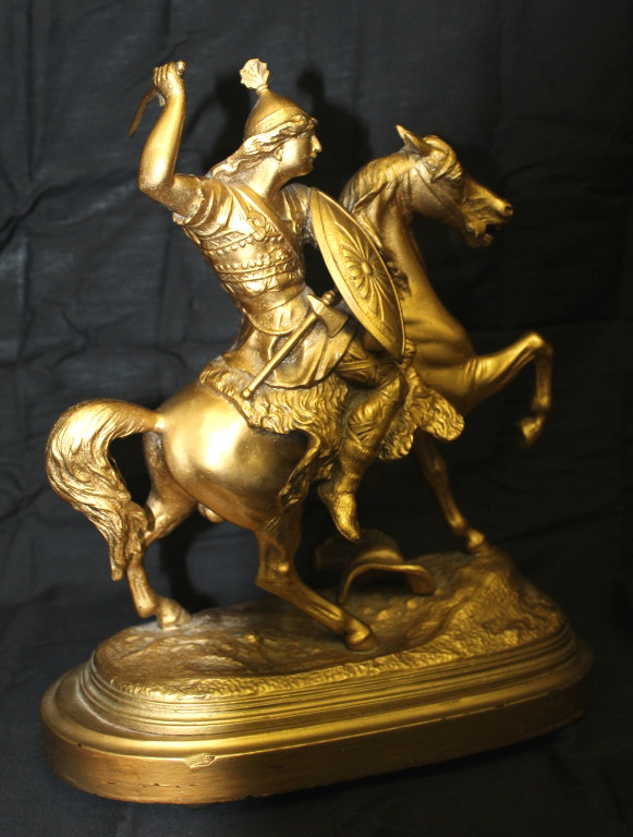 Gold Spelter Fighting Mounted Warrior 19th Century