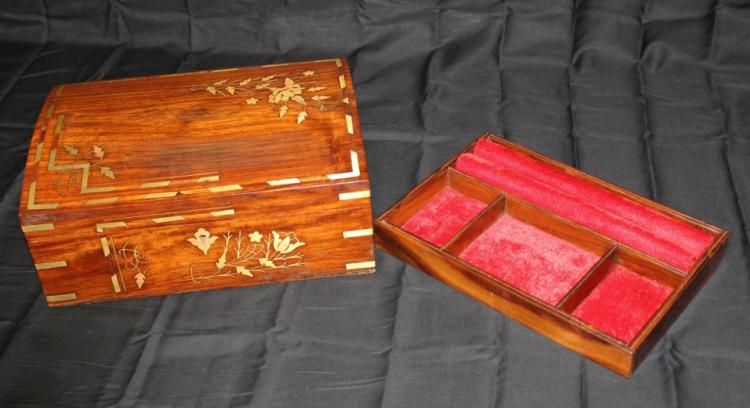 Large Brass Inlaid Wooden Valuables Box