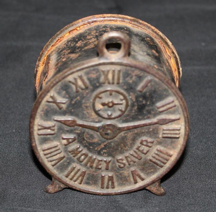 RARE Cast and Formed Clock Shape Metal Bank