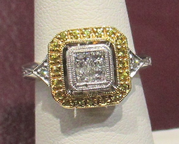 Platinum/Gold Yellow/White Diamond Ring .55 tcw.