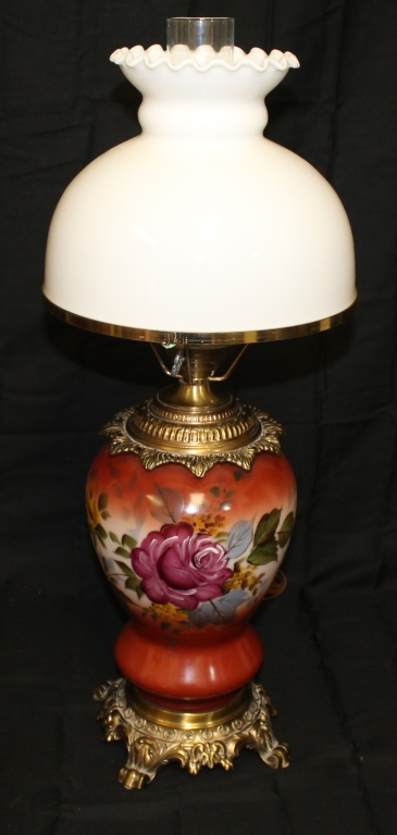 Hand Painted Floral Parlour Lamp