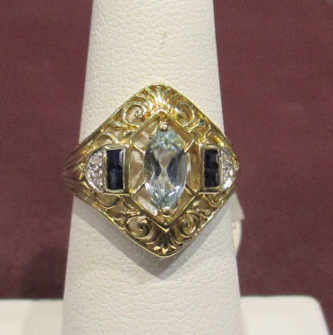 Antique Topaz and Sapphire Ring - 14k