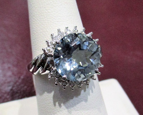 14k WG Lazer Cut Topaz and Diamond Ring