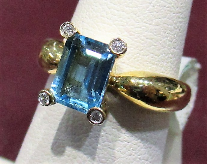 14k YG Ring with Blue Topaz and Diamonds