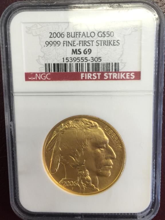 2006 MS 69 NGC First Strikes 24k Buffalo 1 oz.