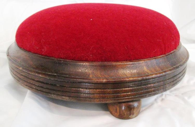 Victorian Velvet Button Footstool