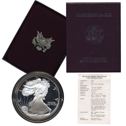 1986 Proof US Silver Eagle 1st  Issue