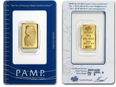 10 Gram Pamp Suisse Gold Bar -