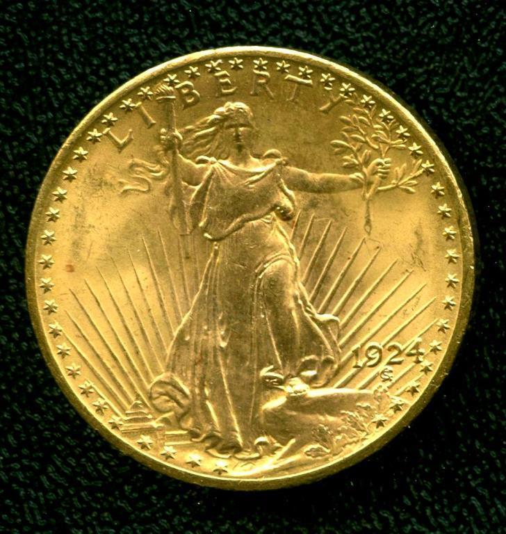 1924 P $ 20 Gold Double Eagle Saint Gauden's Coin