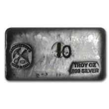 10 oz. Prospector- Gold and Gems Silver Bar-