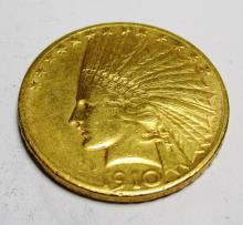 Better Date 1910 S $10 Gold Indian Coin