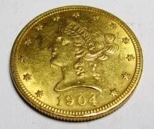 1904 P $10 Gold Liberty Head Coin AU plus grade