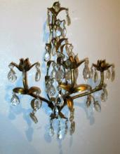 French Gilded and Crystal Wall Candle Sconce
