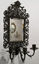 Antique Copper Mirror and Sconce