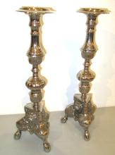 Large Chromed Gothic Candle Holders