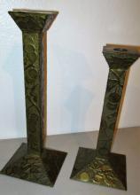 Arts and Crafts Brass Intaglio Candlesticks