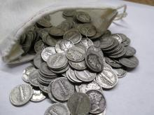 Bag of 220 Mercury Dimes - 90% Silver