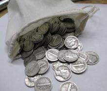 100 Mercury Dimes in Bag - 90% Silver