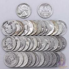 40 pcs. Mixed Dates Washington Quarter Dollars 90%