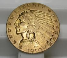 1910 $ 5 Gold Indian Half Eagle