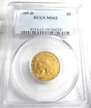 1909 D MS 62 PCGS $ 5 Gold Indian