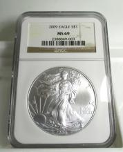 2009 MS 69 NGC US Silver Eagle