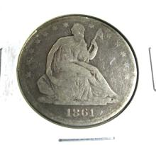 1861 O BETTER DATE SEATED LIBERTY HALF DOLLAR