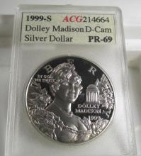 1999 s DOLLEY MADISON PR 69 DCAM $1 Silver