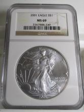 2001 MS 69 NGC US Silver Eagle