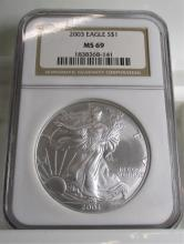 2003 MS 69 NGC US Silver Eagle