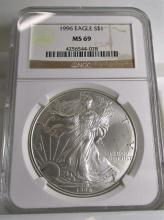 1996 MS 69 NGC US Silver Eagle