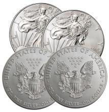 (4) US Silver Eagles - 2016