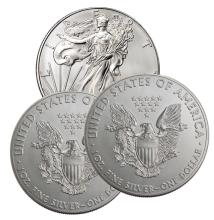 (3) Random Date US Silver Eagles