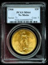 1908 NM MS 64 PCGS $ 20 Saint Gauden's