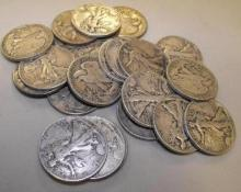 (20) Walking Liberty Half Dollars - 90% Silver