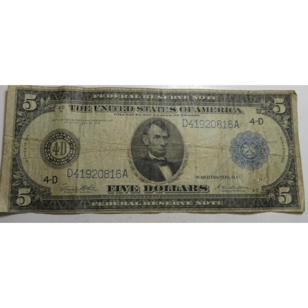 1914 Horseblanket $5 Federal Reserve Note