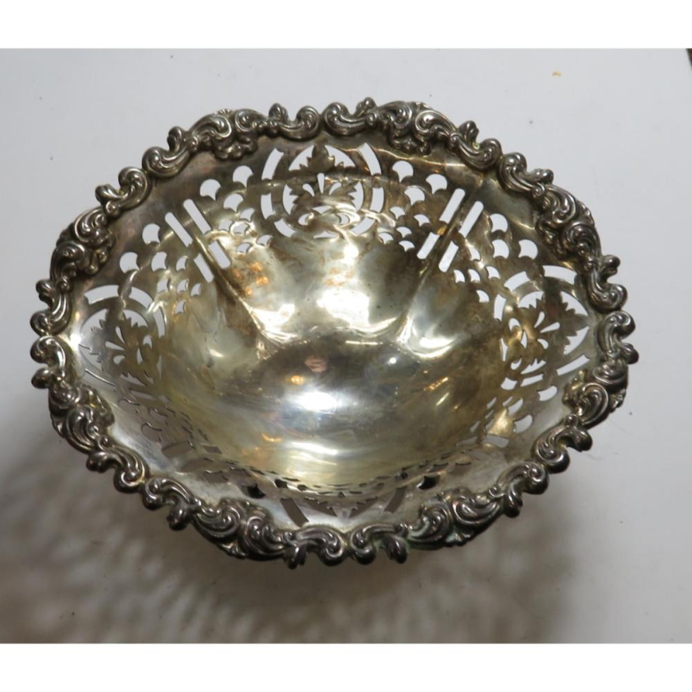 Sterling Silver Reticulated Footed Dish 3.5 oz.